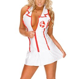 Wholesale Hot Nurse Uniform - Hot Erotic Babydoll Chemises Girls Nurse Cosplay Uniform Dress Thong Hat Suit Porn Baby Doll Sexy Lingerie Maid Teddy Costume