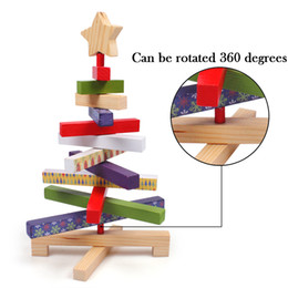 Wholesale Blocks Santa - Rotatable Wooden Blocks Christmas Tree Creative Crafts Gift Home Decor Toy 11.8 inch Santa Claus for kids