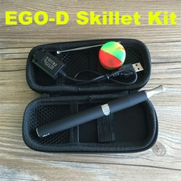 Wholesale E Cigarette Wax Vaporizer - EGO E Cigarette wax smoking e vapor kit EGO D Atomizer EGO-D Atomizer skillet vaporizer pen kit with zipper case wax starter kit