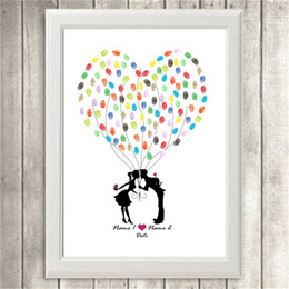 Wholesale Printed Picture Book - DIY Couple Kissing Custom Fingerprint Picture Wedding Souvenir Guest Book Signature Canvas Painting No Frame Sweet Wall Ornament