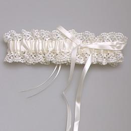 Wholesale Wedding Satin Polyester Ribbon - 2016 New Ivory High Quality Bridal Garter Ribbon Satin Bowknot Wedding Accessoreis Bridal Leg Garters Belt