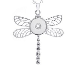 Wholesale Animal Snap Watches - 20Pcs sterling antique accessories statement long necklaces dragonfly silver necklaces pendants watches woman fit 18mm snaps 2016 Style