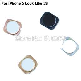 2019 botão iphone preto Atacado-Home Button Key com anel de metal para o iPhone 5 parece 5S Silver / Black / Gold Substituição Home Button 200PCS DHL botão iphone preto barato