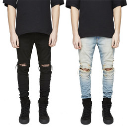 Wholesale long coats for mens - New Slim Fit Ripped Jeans Men Hi-Street Mens Distressed Denim Joggers Knee Holes Washed Destroyed Jeans for men