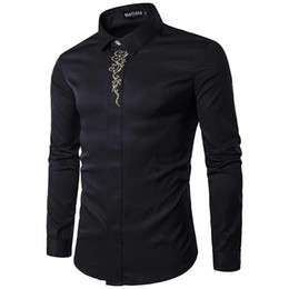 Wholesale Wholesale Men Dress Shirts - Men Shirt Luxury Brand 2017 Male Long Sleeve Shirts Casual Mens High-Quality Printing Slim Fit Dress Shirts Mens Plus Size S-2XL