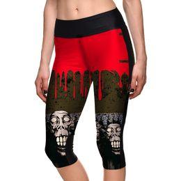 Wholesale plus size capri leggings - Hot Womens Fashion Halloween Graffiti Print Slim Cropped Leggings For Female Plus Size Skull Digital printing Pencil Capri Pants