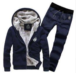 Wholesale Fur Lined Sweatshirts - 2017 New Arrive Winter Tracksuits Hooded Men Male Hoodies Suits Fur Lining Jacket Pants Sweatshirt Set Free Shipping Plus Size