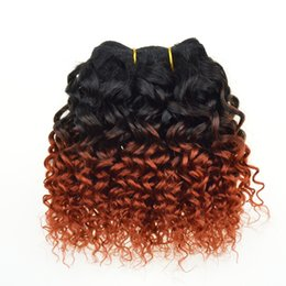 Wholesale Curly Ombre Hair - New Peruvian Malaysian Brazilian kinky curly hair weave Ombre Human Hair Extensions 2 Tone 1B 350# ombre Brazilian Hair 6 Bundles
