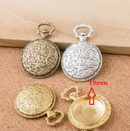 Wholesale Wholesale Cameo Watches - 25PCS inner:19mm Round WATCH Charm Pendant Tray Antique Bronze silver, Cabochon Cameo Setting Blank Tray, Round Pendant Blanks DIY For Cameo