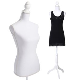 Wholesale Dress Display Mannequin Stand - White Female Mannequin Torso Dress Form Display WhiteTripod Stand New