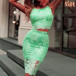 Wholesale Lime Green Homecoming Dressed - SOLOVEDRESS Lime Green Lace Two Piece Homecoming Dresses 2017 Short Prom Dress Mini Length Cocktail Dresses graduation dress
