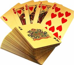 Wholesale Poker Playing Card - NEW Durable Waterproof Plastic Playing Poker Cards 24K Gold Foil Plated Playing Cards Poker Table Games Christmas Gifts US Dollar Euro Style