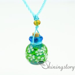 Wholesale Baby Bottle Charms - flowers insidelampwork glassaromatherapy jewelry wholesale diffuser bracelet aroma necklace glass bottle charm baby urn necklace small urns