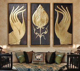 Wholesale Buddha Paintings Framed - Modern abstract huge large canvas art oil painting southeast Asian style buddha hand paintings no framed christmas gift