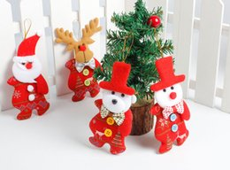 Wholesale Wholesale Cloth Shorts - 2017 8 kinds of Christmas tree ornaments, hangings, new Santa Claus, snowman, deer doll, bear, Christmas Tree Ornament Gift