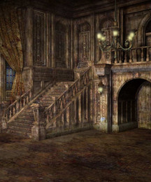 fondos de araña Rebajas Vintage Castle Photography Backgrounds Chandelier Light Interior Staircase Backdrop Digital Party Studio Foto Shoot Papel pintado Tela de vinilo