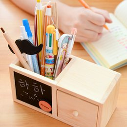 Wholesale Wood Box Vase - Wholesale-original woodiness black pencil vase creative drawer Pen Holders Single wooden blackboard box Brand new