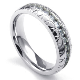 Wholesale Womens Celtic Band Ring - 072748-wholesale stainless steel CZ jewelry,US Size 7-12,Mens Womens Cubic Zirconia Stainless Steel Ring, wedding 6mm Band, Silver