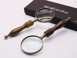 Wholesale Glass Handle Magnifying - The overseas e-commerce black sandalwood handle nostalgic retro style high-end hand-held gift metal magnifying glass lenses