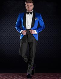 Wholesale Shiny Black Jackets For Men - Wholesale-New Tailored Groom Suits For Men Electric Shiny Satin Blue Tuxedo Jacket With Black Pants Custom Made(Jacket+Pants)