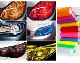 Wholesale Waterproof Pvc Stickers - 2PC  30CMX100CM Auto Car Light Headlight Taillight Tint styling waterproof Vinyl Film Sticker 12 Colors Option
