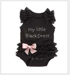 Wholesale Tutu Onesies Christmas - 2016 Cute Infant Baby Lace Tutu Rompers Dress Toddler Girls Letters Sleeveless Jumpsuits With Bowknot Newborn Black Onesies One-Piece