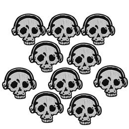 10 PCS casque crâne broderie patches pour vêtements fer patch pour vêtements applique accessoires de couture autocollants sur tissu fer sur les correctifs ? partir de fabricateur
