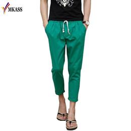 Wholesale Linen Pants Wholesale - Wholesale- Plus Size 5XL Summer Fashion Casual Loose Mens Cropped Pants Sweatpants Jogger Pants Men