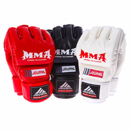 Wholesale Punching Bag Gloves - 2 style Professional Boxing Gloves MMA Muay Thai Gym Punching Bag Breathable Half Full Mitt Training Sparring Kick Boxing Gloves