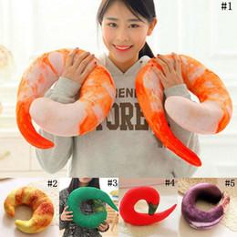 Wholesale shrimp shape - Shrimps Hold Pillow U-shaped Pepper Travel Pillows Cartoon Throw Pillow Neck Nap Pillow Kids Stuffed Animals Plush Toys 5 Styles OOA3377