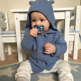 Wholesale Baby Coats Ears - Ins Baby girl Knit Sweaters Cute Ears Hooded Coat Outwear Front Double-breasted 100% cotton 2017 Autumn Winter 9month-3years