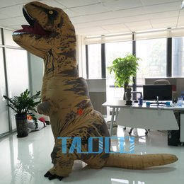 Wholesale Dinosaur Costume Yellow - INFLATABLE Dinosaur T REX Costume Jurassic World Park Blowup Dinosaur Halloween Inflatable costume Party costume for adult