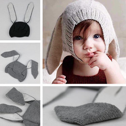 infant bunny hat Promo Codes - Winter warm Baby Rabbit Ears Knitted Hat Infant bunny Caps For Children 0-4T Girl Boy beanie hats Photography Props IC820