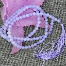 Wholesale Earring Prayer - 2016 hot buy pearl jade bracelet ring earring necklace Pendant >>>Pretty 6mm Buddhism 108 Lavender Jade Prayer Bead Mala jewelry Necklace Br