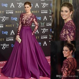 Wholesale Blue Collar Special - Elegant Grape Zuhair Murad Celebrity Evening Dresses Sheer Long Sleeves Lace Beaded Long Custom Made 2016 Prom Special Occasion Gowns Cheap