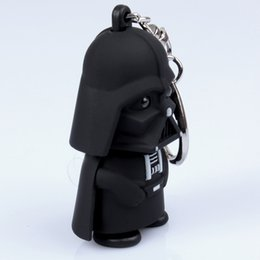 Wholesale Novelty Flashlight Key Chain - FREE SHIPPING 100pcs lot Novelty trinket men jewelry Star Wars Darth Vader Key Chain Sound Light Key Holder