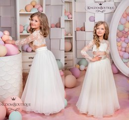 Wholesale Two Piece Flower Girl Dresses - 2017 New Arrival High Quality Two Pieces Flower Girls Dresses Illusion Back Jewel Neck 3 4 Sleeves Kids Long Formal Wedding Party Gowns