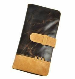 Wholesale Grain Photos - Vintage Oil wax Litchi Grain Genuine Leather Men Casual Organizer Wallet Purse Zipper Money Card Coin Photo Pocket Clutch Bag