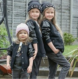 Wholesale Wholesale Leather Jackets Pu - 2016 new Winter Boys Kids PU leather Baseball uniform Jacket Clothes outerwear coats for children 2~7yers