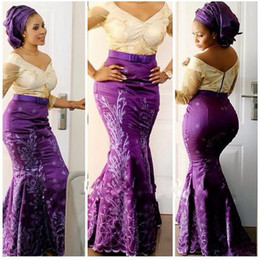 black lace aso ebi dress Promo Codes - Aso Ebi Style Plus Size Prom Dresses 2017 V Neck Lace Illusion Long Sleeve Mermaid Evening Gowns Purple Satin Formal Party Dresses