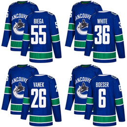 Wholesale New 55 - 2018 2017 New Brand Men Vancouver Canucks 55 Alex Biega 36 Ryan White 26 Thomas Vanek 6 Brock Boeser Blue Custom Hockey Jerseys