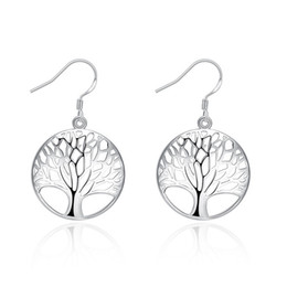 Wholesale Classic Vintage Earrings Wholesale - Classic Fashion Plate 925 Sterling Silver Tree of Life Earrings Bohemian Boho Jewelry Vintage Punk Cute Earring Freeshipping