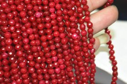 Wholesale Ruby Loose Gemstone Beads - free shipping natural beautiful Jewelry NEW 1Strand New 4MM 15inches Natural Brazilian Ruby Faceted Round Loose Beads Gemstone AAA