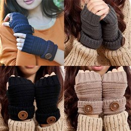 Wholesale Viscose Twill - Half Finger Knitted Gloves Fashion Women Casual Winter Multi Colors Button Mittens For Lady Christmas Gift 5nq C