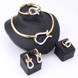 Wholesale Golden Bracelet For Jewelry - Vintage Retro Nigerian Elegant Gold Silver Plated Necklace Earrings Ring Bracelet Bridal Jewelry Sets For Women Wedding Party
