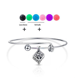 Wholesale Rock Bangles - 2018 New Vintage DIY Charm Lockets Aromatherapy Bracelets Young Living Essential Oil Diffuser Bangles With Natural Nlack Lava-rock