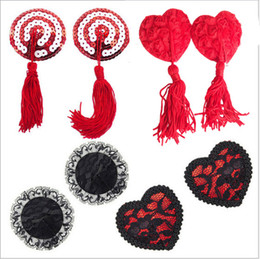 Wholesale Tassels Nipples - Wholesale-5 styles Ladies Sexy Lace Ribbon Stick with Tassel On Pasties Breast Petals Nipple Covers Clubwear 5pcs lot