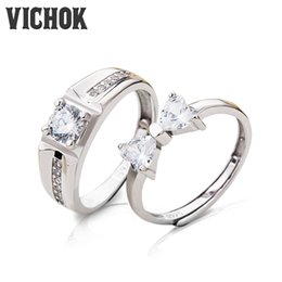 Wholesale Ring Bowknot - 925 Sterling Silver Lover RingSweet Bowknot Set Women Men Gifts Resizable Fashion Jewelry Statement Engagement Rings for Lover VICHOK