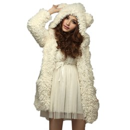 Wholesale Warm Teddy Bear - Wholesale- ZANZEA Autumn Winter Warm Women Solid Hoodies Coat Fashion Cute Ladies Teddy Bear Ears Outwear Long Hooded Overcoat Plus Size