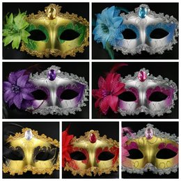 Wholesale Masquerade Mask Decor - Venetian Face Mask Lily Flower Crystal Rhinestone Decor Venetian Lace Face Mask for Halloween Masquerade Costume Party Mask CCA7417 600pcs
